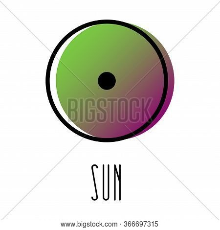 Planet Symbol, Sign Of Sun. Symbol Illustration Of Astrology Planet - Sun. Zodiac And Astrology Sign