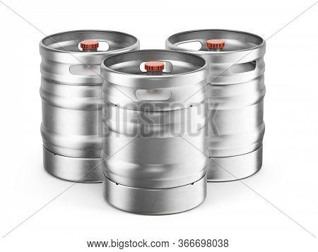 3 Aluminium beer kegs isolated on white background. 3d rendering of beer keg.