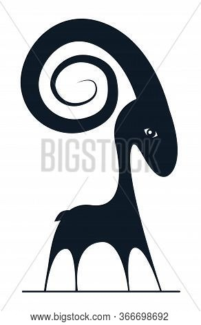 Aries Astrology Sign In Dark Blue Colour. Cute Black Sheep Logo. Symbol Of Aries Zodiac. Vector Flat