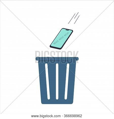 The Smartphone Is Thrown In The Trash.gadget, News And Digital Devices Detox Concept.stress From Exc