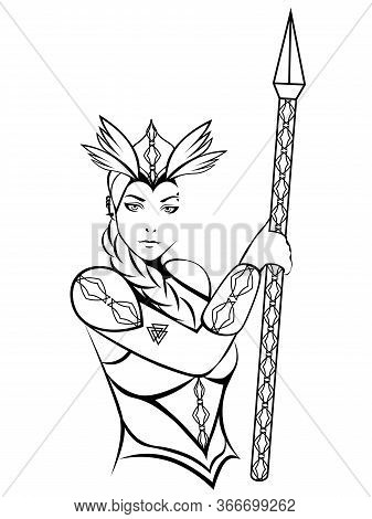 Scandinavian Mythological Character Woman-warrior Valkyrie In Winged Helmet With A Lance