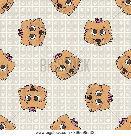 Hand Drawn Cute Rough Collie Breed Puppy Face With Pink Bow Seamless Vector Pattern. Purebred Pedigr
