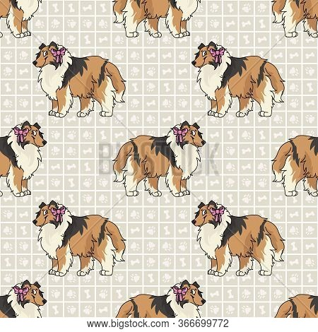 Hand Drawn Cute Rough Collie Breed Dog With Pink Bow Seamless Vector Pattern. Purebred Pedigree Pupp