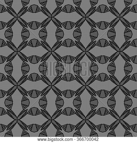 Abstract Dark Tribal Grey Celtic Seamless Pattern In Viking Or Celtic Style