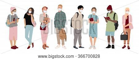 Multiethnic People With Medical Masks. Young People In Medical Masks To Prevent Disease, Virus, Pand