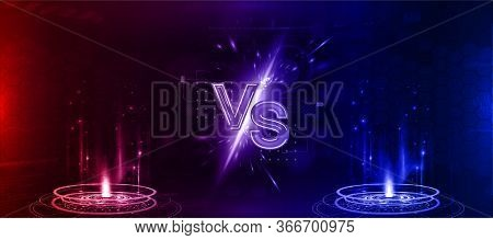 Futuristic Versus Banner - Image Blank. Red And Blue Glow Rays Night Scene With Sparks. Hologram Lig