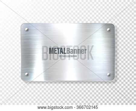 Realistic Shiny Metal Banner. Brushed Steel Plate. Polished Silver Metal Surface. Vector Illustratio