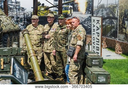 Dnipro, Ukraine - May 25, 2016: Combatant Soldiers, Volunteers And Officers, Ukrainian Veterans On T