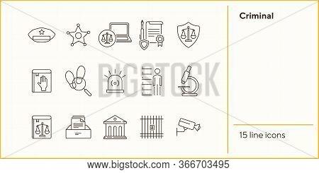 Criminal Line Icon Set. Arrest Warrant, Sheriff Badge, Criminal Code. Justice Concept. Can Be Used F