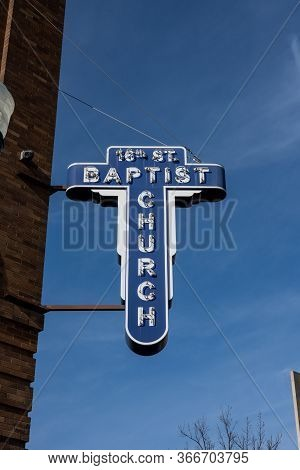 Birmingham, United States: February 15, 2020: 16th Street Baptist Church Sign On Blue Sky