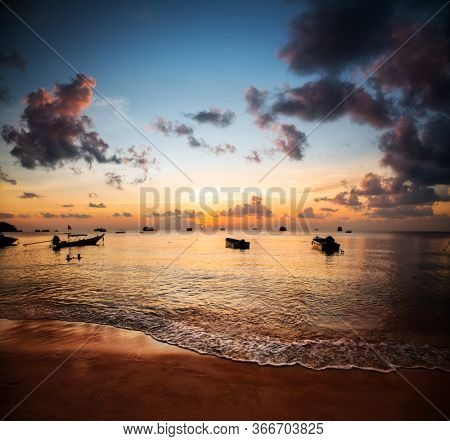 Sunset and beautiful beach, Koh Tao, Thailand