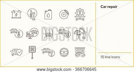 Car Repair Line Icons. Set Of Line Icons. Accumulator, Tools, Car Shower. Car Repair Concept. Vector