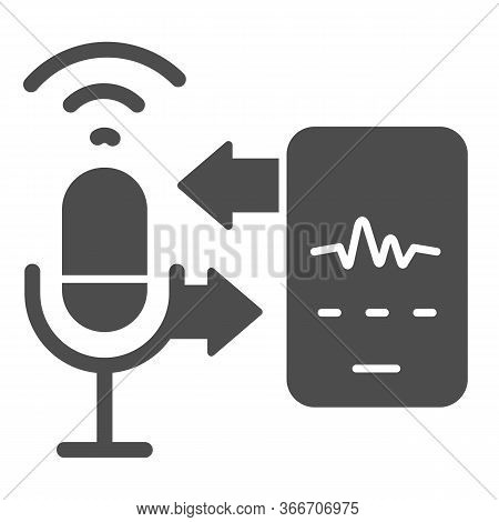 Microphone And Sound Recording With Smartphone Solid Icon, Smart Home Multimedia Symbol, Speech Reco