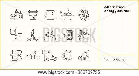 Alternative Energy Source Icons. Set Of Line Icons. Electrical Car, Plant In Hands, Water Tube. Alte