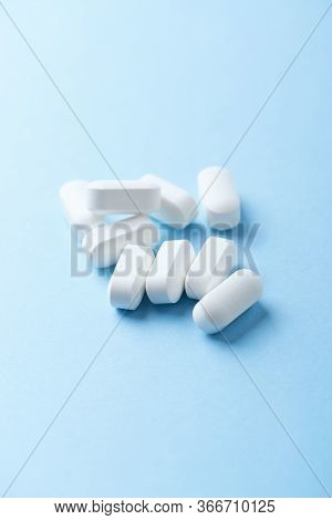 Bcaa Amino Acids. Nutrition For Bodybuilding. Fitness Supplements On Bright Paper Background. Copy S