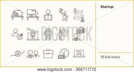 Startup Line Icon Set. Rocket, Entrepreneur, Growth Diagram. Business Concept. Can Be Used For Topic