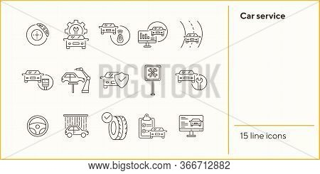 Car Service Icons. Set Of Line Icons. Car On Road, Wheel, Tyre. Car Repair Concept. Vector Illustrat