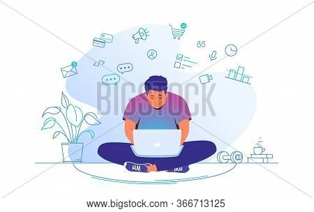 Working Online With Laptop At Home. Flat Line Vector Illustration Of Cute Man Sitting At Home In Lot
