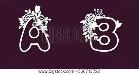 Two Delicate Patterns For Cutting Letters A And B With Tender Flowers. Paper Art. Die Cutting For Sc