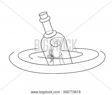 A Letter In A Bottle Floating In Water - Vector Linear Picture For Coloring. Bottle Mail - A Closed