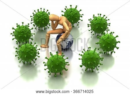 Epidemic Anxiety Concept (isolated On White Background) 3d Rendering