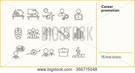 Career Promotion Line Icon Set. Employee, Workplace, Office Building. Career Concept. Can Be Used Fo