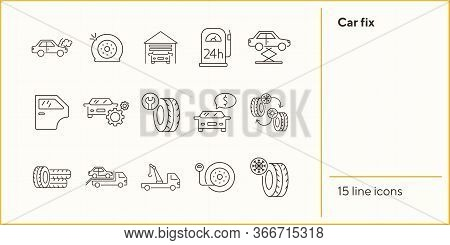 Car Fix Icons. Set Of Line Icons. Changing Tyres, Pressure, Door. Car Repair Concept. Vector Illustr