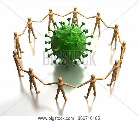 Checking The Virus (isolated On White Background) 3d Rendering