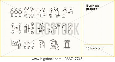 Business Project Icons. Set Of Line Icons On White Background. Strategist, Strategic Plan, Scheme. S