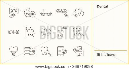 Dental Icons. Set Of Line Icons. Dentist, Tooth, Prophylaxis. Medicine Concept. Vector Illustration