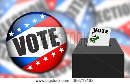 United States Elections Batch With Blue, Red And Stars.. Election Badge Button For Background. Usa E