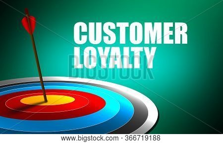 Consumer Loyalty Word With Red Arrow And Board . 3d Rendering