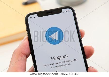 Chiang Mai, Thailand Jan 19 2020 : Telegram Application Icon On Apple Iphone Xs Screen Close-up. Tel