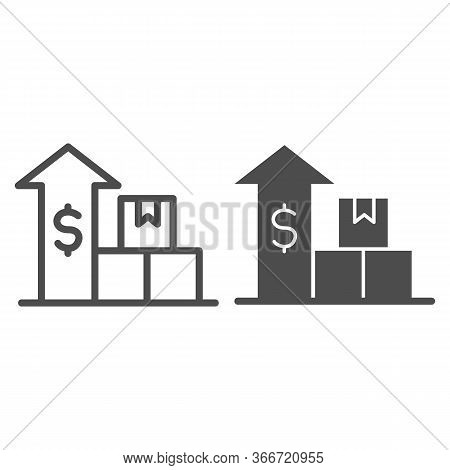 Boxes With Up Arrow And Dollar Line And Solid Icon, Delivery And Logistics Symbol, Delivery Finance