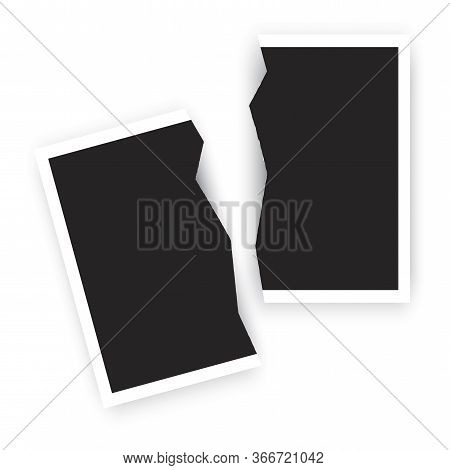 Torn Black Photo. Rip Picture. Isolated Photograph, Vector Image. Black, Damaged Snapshot.