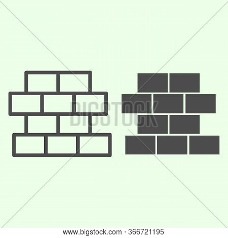 Brick Line And Solid Icon. Building Wall With Bricks Outline Style Pictogram On White Background. Ho