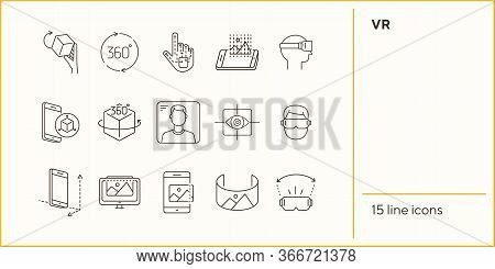 Vr Line Icons. 360 Cube, Eye Scanner, 3d Picture. Virtual Reality Concept. Vector Illustration Can B