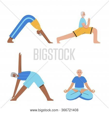 Set Of Old Men Performing Yoga Exercises At Home. Seniors In Different Isolated Poses. Mature Male C