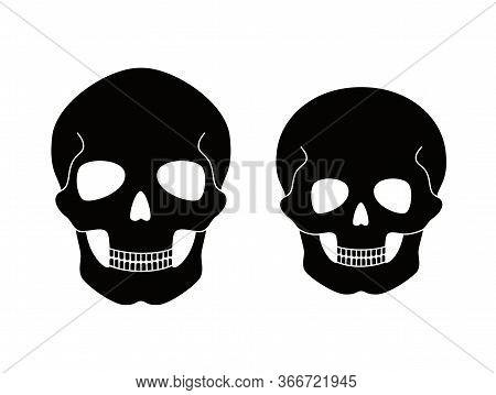 Human Adult And Child Skull Anatomy. Flat Vector Medical Illustration Isolated. Structure Of Facial