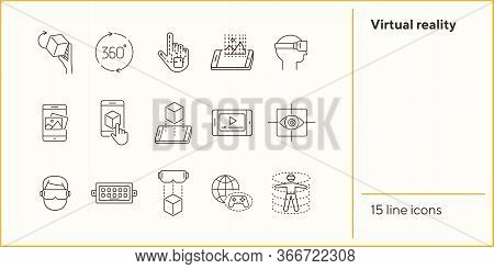 Virtual Reality Line Icons. 360 Degrees, Robotic Hand, 3d Modeling. Virtual Reality Concept. Vector
