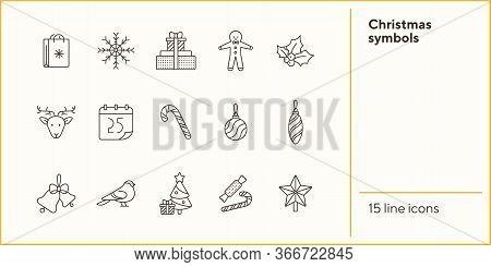Christmas Symbols Thin Line Icon Collection. Calendar, Robin, Mistletoe Sign Pack. Winter Holidays C