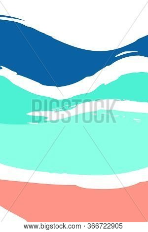Sea Wave In Blue Color And Beach, Abstract Background, Vector Image