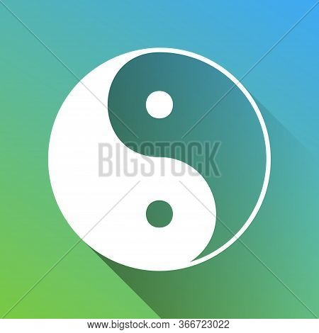 Ying Yang Symbol Of Harmony And Balance. White Icon With Gray Dropped Limitless Shadow On Green To B