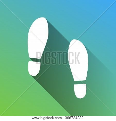 Imprint Soles Shoes Sign. White Icon With Gray Dropped Limitless Shadow On Green To Blue Background.