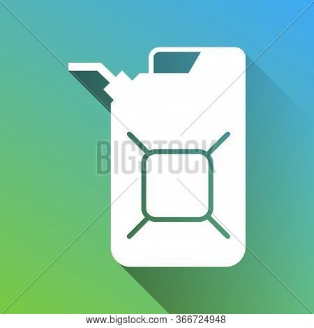 Jerrycan Oil Sign. Jerry Can Oil Sign. White Icon With Gray Dropped Limitless Shadow On Green To Blu