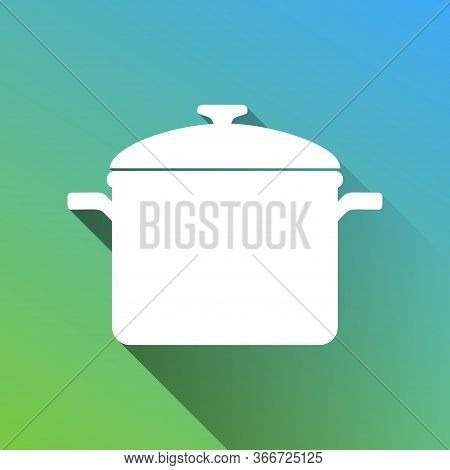 Cooking Pan Sign. White Icon With Gray Dropped Limitless Shadow On Green To Blue Background. Illustr