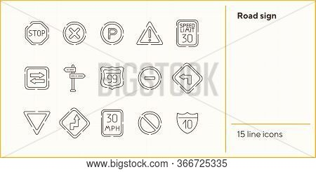 Road Sign Line Icon Set. Stop Sign, Speed Limit, Parking Sign. Road Sign Concept. Vector Illustratio