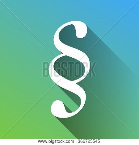 Paragraph Sign Illustration. White Icon With Gray Dropped Limitless Shadow On Green To Blue Backgrou