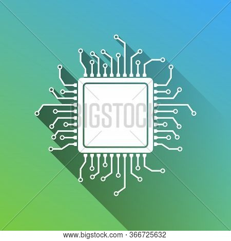 Cpu Microprocessor Illustration. White Icon With Gray Dropped Limitless Shadow On Green To Blue Back