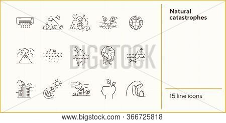 Natural Catastrophes Icons. Set Of Line Icons. Toxic Fumes, Breaking Planet, Animals. Ecology Concep